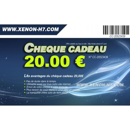 Chèque cadeau 20,00€ idée cadeau - www.xenon-h7.com