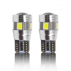 Ampoules veilleuses LED T10 W5W haut de gamme CANBUS 6W CREE - Blanc