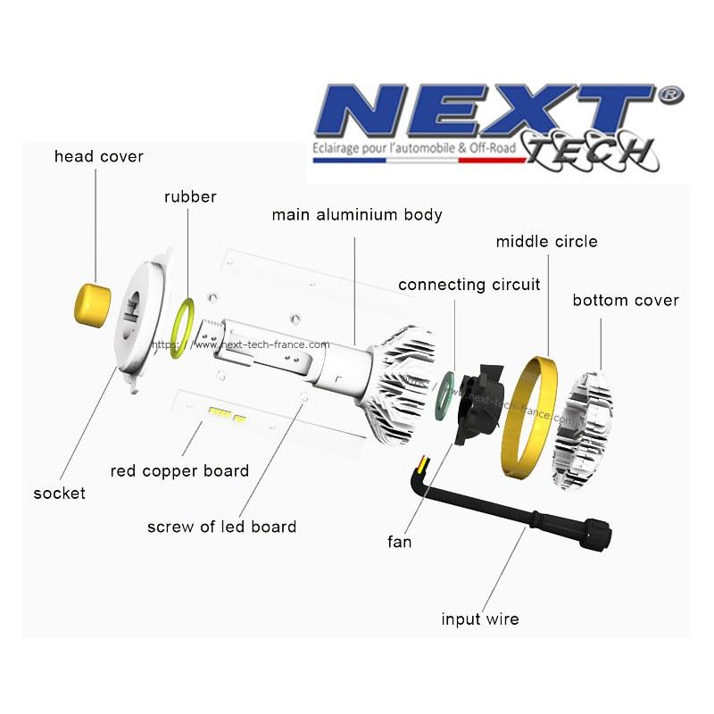 Ampoules H7 Haut Led Ventilées Canbus Gamme Tech® De 55w Next byfg6v7IY