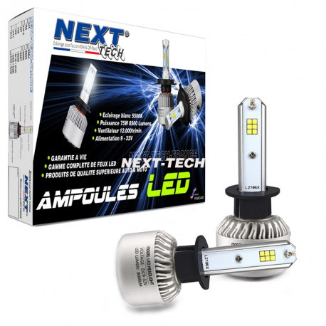 Ampoules H1 LED mini ventilées 75W blanc - Next-Tech®