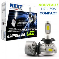Ampoules H7 LED mini ventilées 75W blanc - Next-Tech®