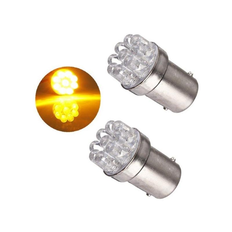 ampoules p21w ba15s 1156 t25 9 led orange vendus par paire. Black Bedroom Furniture Sets. Home Design Ideas